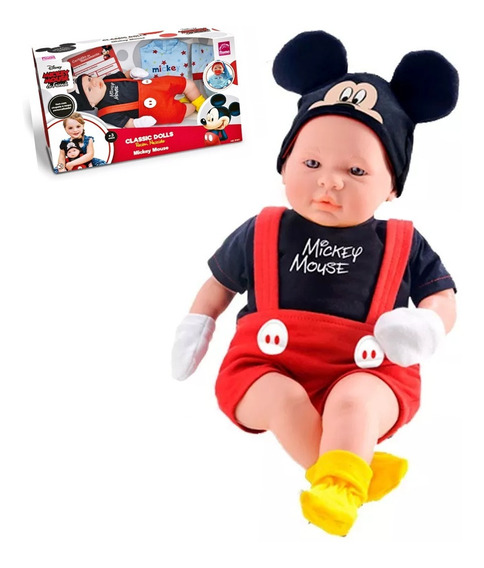 Boneco Classic Dolls Mickey C/ Pijama Chupeta E Certidão