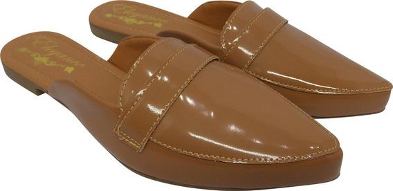 Sapato Sapatilha Mule 174 Verniz Feminino Rasteira Elegance