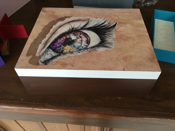Caja De Madera Para Cosméticos 35x25x12cm