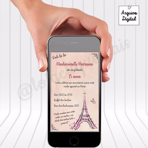 Imagem 1 de 2 de Convite Digital Paris 15 Anos Para Whatsapp - Vertical