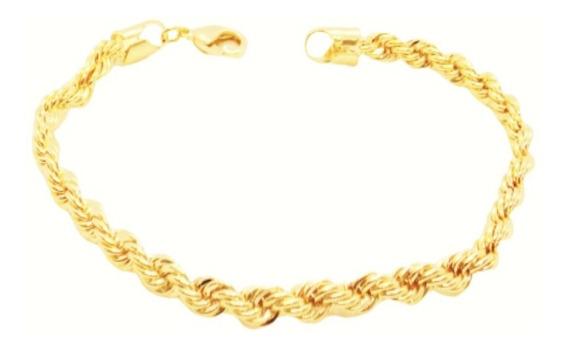 Pulseira Cordão Feminina Masculina 19cm 2,8mm Folheada Ouro