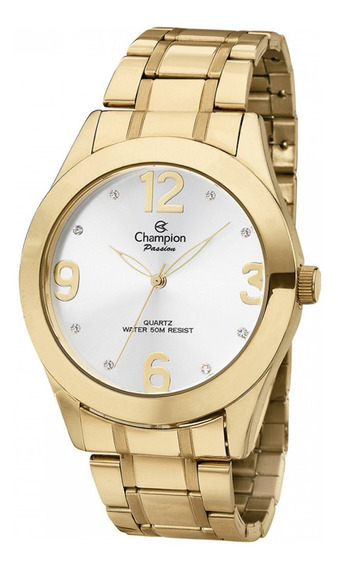 Relógio Champion Analógico Dourado Ch24268h Números Grandes