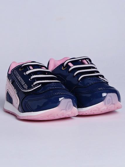 Tênis Kidy Infantil Para Bebê Menina - Azul Marinho/rosa