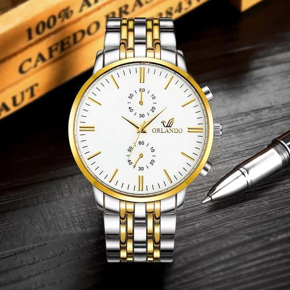 Relógio Masculino Luxo Quartz Negócios Analógico Orlando
