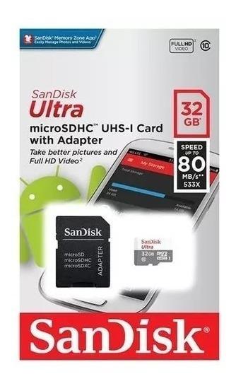 Cartão Memoria Micro Sd Sandisk 32gb Ultra Class 10/por R$29