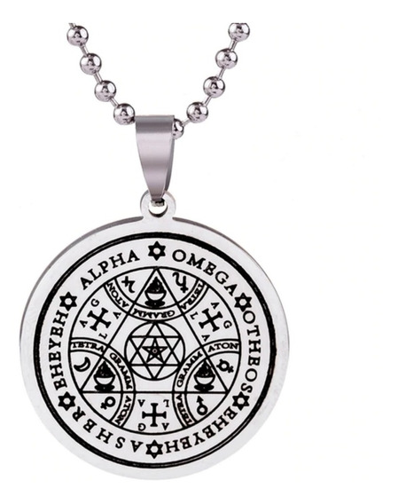 Colar Selo Sete Arcanjos Tetragrammaton Salomão Aço Amuleto