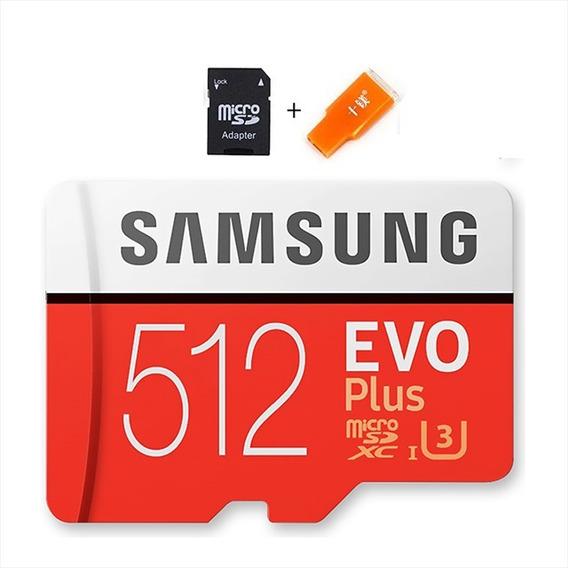 Cartão De Memória 512 Gb Micro Sd Samsung + Adaptador + Usb