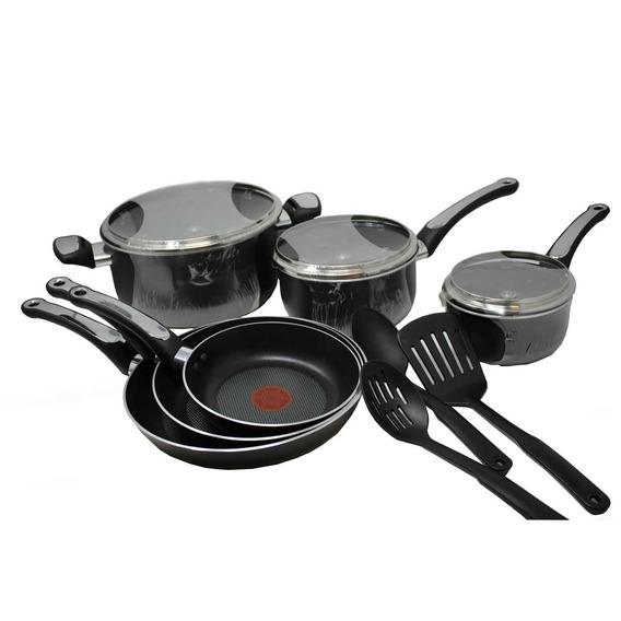 Batería De Cocina 12 Piezas Platinum Negra T- Fal C180sc64