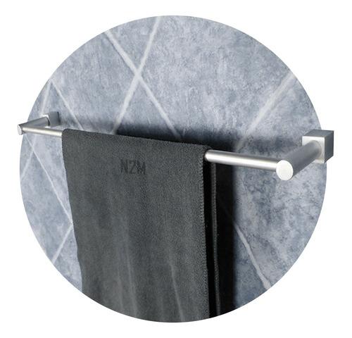 Imagen 1 de 10 de Barral Baño Simple 60 Cm Borde Cuadrado Toallero Aluminio