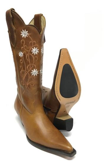 Bota Texana Country Feminina Jácomo Bico Fino Cano Bordado 100% Couro - Super Confortável Com Costura Reforçada
