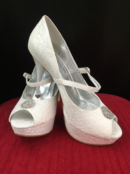 Sapato Noiva Nº39 Salto Alto Meia Pata Renda Retro Branco
