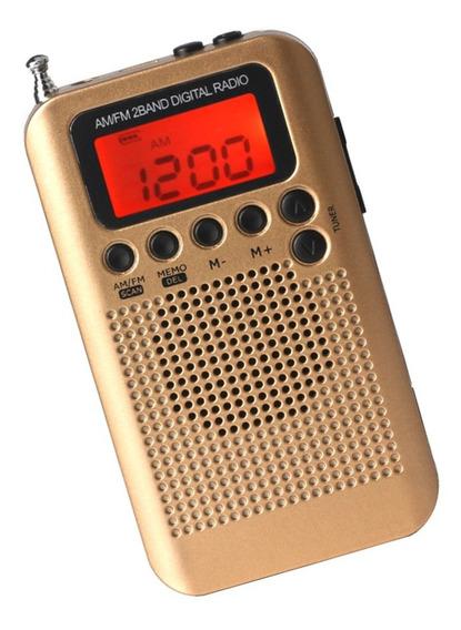 Recarregável Am Fm Digital Portátil Rádio Bolso E Fone De