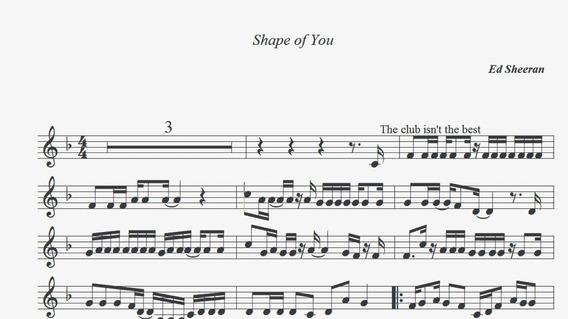 Partitura Shape Of You Ed Sheeran Formato Encore