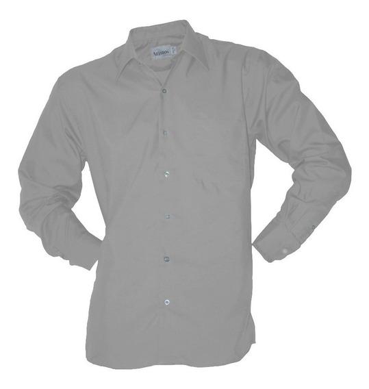 Camisa De Vestir Aristos Planchado Fácil Gris Perla 37 A 46