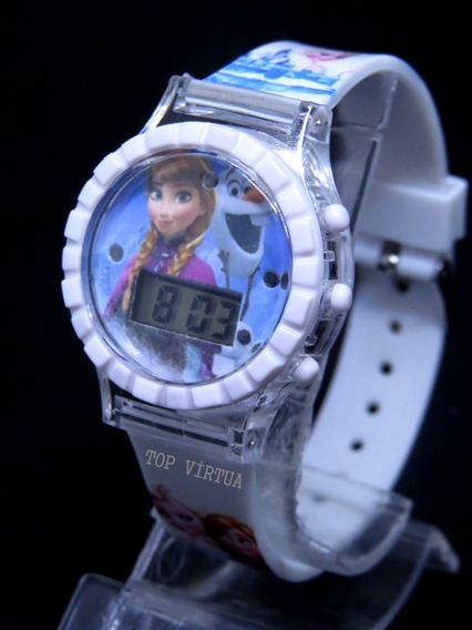 Relógio Da Frozen Branco Digital Com Som Luzes Novidade C343