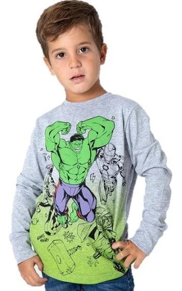 Remera Manga Larga Hulk Vengadores Avengers Ironman Niños