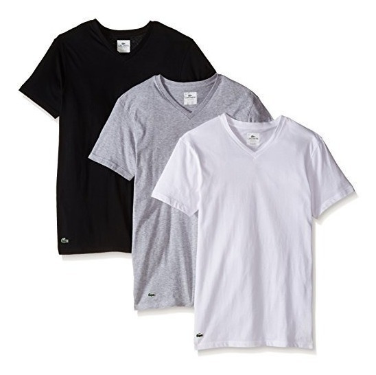 Remeras Lacoste Pack De 3- Escote V -100% Algodon- Exclusiva