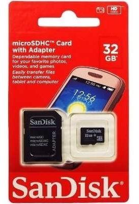 Cartão De Memória Micro Sd 32gb Sandisk C/ Adaptador