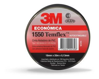 Cinta Aisladora 3m Temflex 1550 Negra 18mm X 10m Pack X10