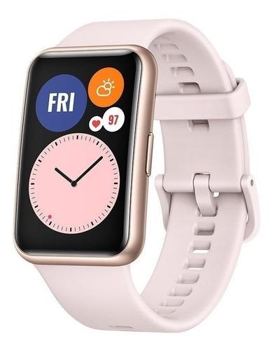 "Huawei Watch Fit 1.64"" caja de  fibra polimérica  rose gold malla  sakura pink de  silicona TIA-B09"