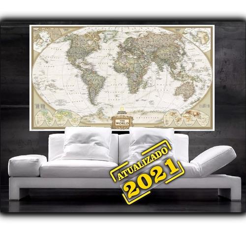 Imagem 1 de 6 de Mapa Mundi Super Grande 65x100cm Estilo Antigo Lindo