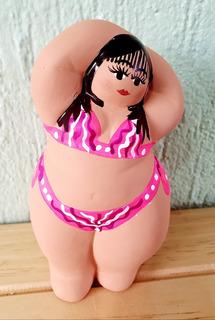 Gorda Bikini Rosa Tipo Botero Figura Ceramica Artesanía Mex