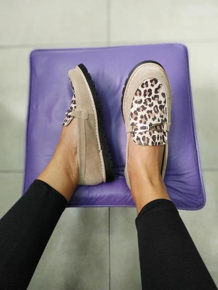 Zapatos Mocasines Animal Print / Tachas Mujer