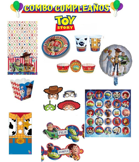 Combo Kit Cumpleaños Toy Story 20 Chicos Cotillon Jiujim