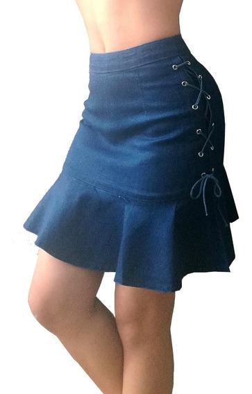 Falda Jean Mujer Tejida Bolero Cierre Alto Elastica Suave