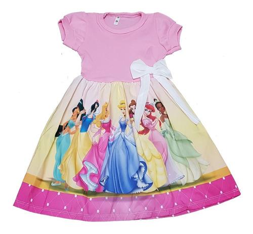 Vestido Infantil Princesas  Manga Curta  Fab2