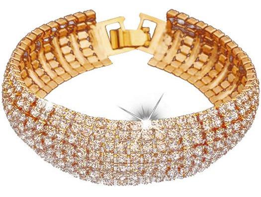 Pulseira Bracelete Feminino Dourado Banhado Ouro Festa