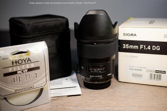 Lente Sigma 35mm F/1.4 Art. Hsm Dg Para Nikon (seminova)
