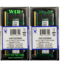 Kit 2 Memória Kingston Ddr3l 1333mhz 4gb Note/mac Lowvoltage