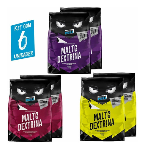 Imagem 1 de 5 de Kit 6x Malto Dextrina - 1kg - 3 Sabores