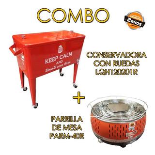 Combo Conservadora Con Ruedas+parrilla De Mesa Lq Kit123 Mm