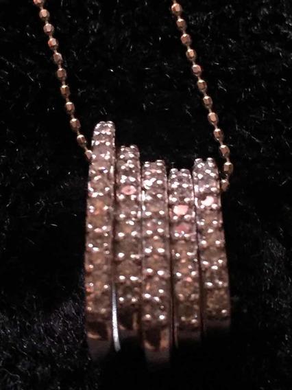 Corrente Em Ouro Branco K18 E Diamantes