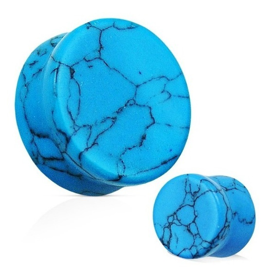 Alargador Pedra Azul Turquesa Turquoise 22mm Par