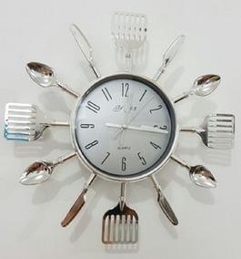 Relógio De Parece Cozinha Talheres Prata Promoção Barato