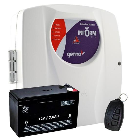 Central De Alarme Inform Slim 3 Setores Genno Com Bateria