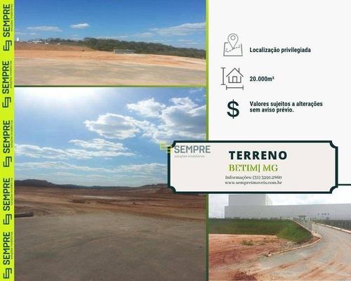 Imagem 1 de 16 de Terreno Industrial De 20.000 M² Em Betim/mg - Te0003