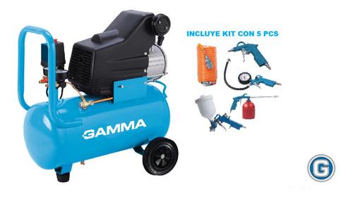 Compresor Aire Gamma G2852k 1,5hp 25lts Monofásico Kit 5 Pcs