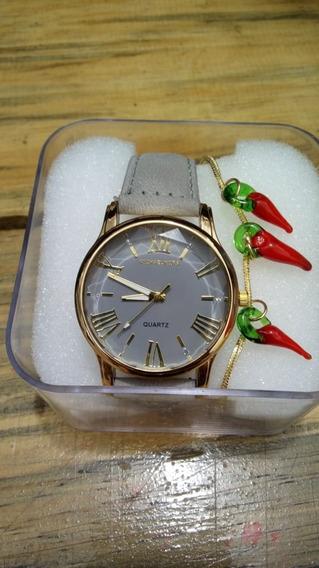 Relógio Feminino Elegante Com Pulseira De Brinde