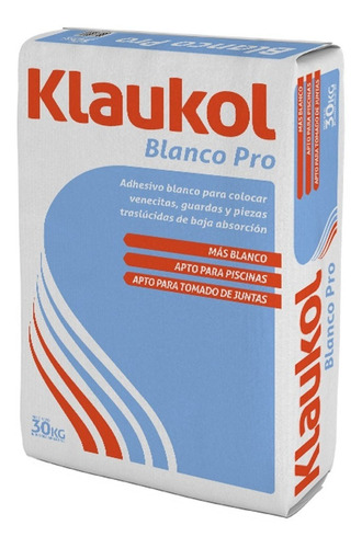 Pegamento Impermeable Blanco Pro (30 Kg) Klaukol