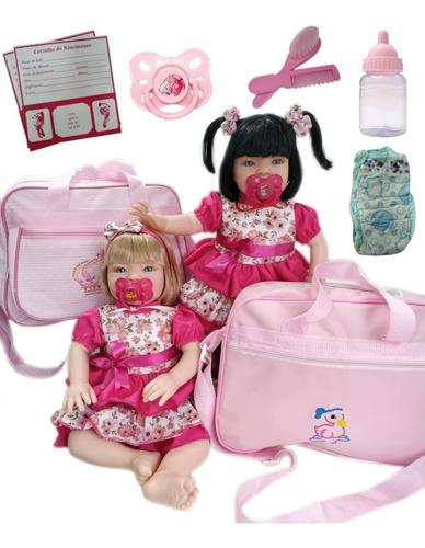 Imagem 1 de 7 de 2 Bebê Reborn Loira + Morena + Acessórios+ Bolsa Maternidade