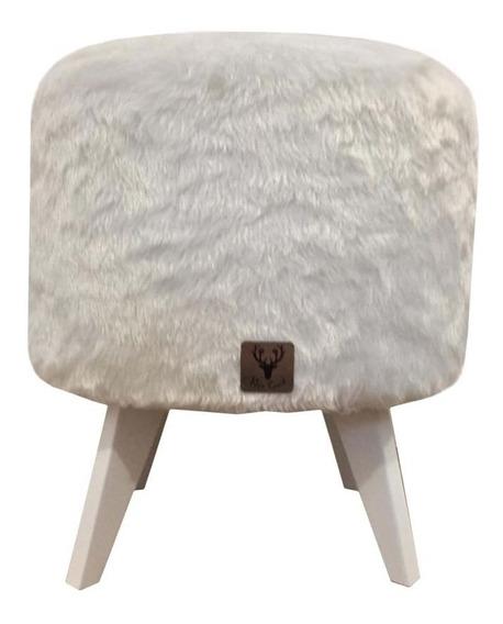 Puff Pé Palito Redondo Alce Couch Pelinho Pés Branco Frete G