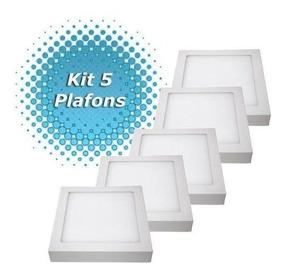 Kit 5 Plafon Led Luminaria Sobrepor Quadrado 18 Watts