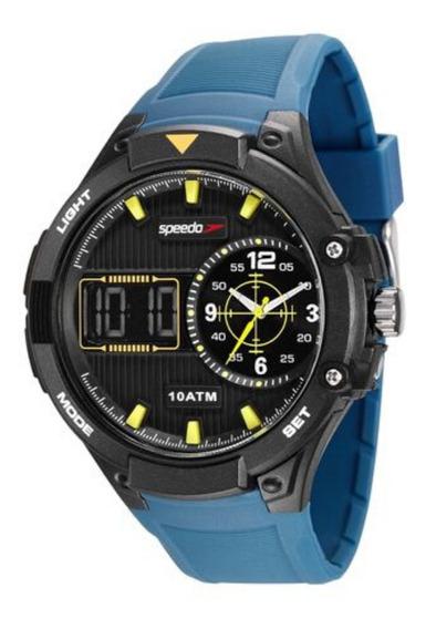 Relógio Masculino Anadigi Preto E Azul Original Speedo + Nf