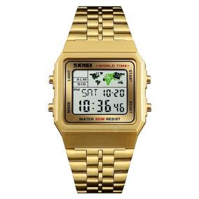 Relógio Skmei 1338 Dourado Moda Vintage Led Digital Unissex