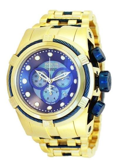 Relógio Z56 Invicta Bolt Zeus Azul Linha Dourado 18k Promo