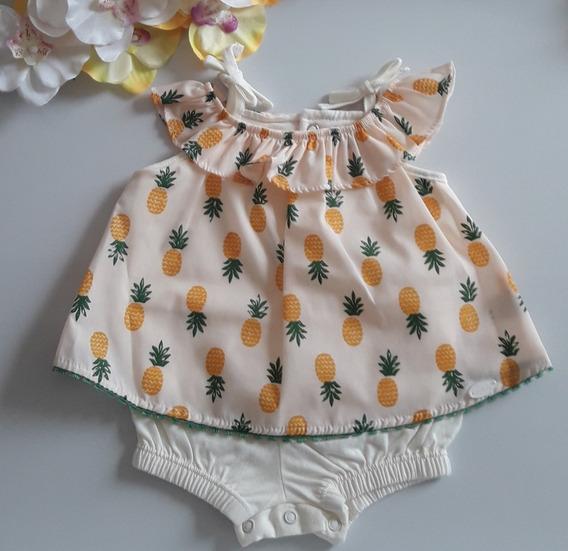 Macacão Curto Bebê Banho De Sol Abacaxis Keko